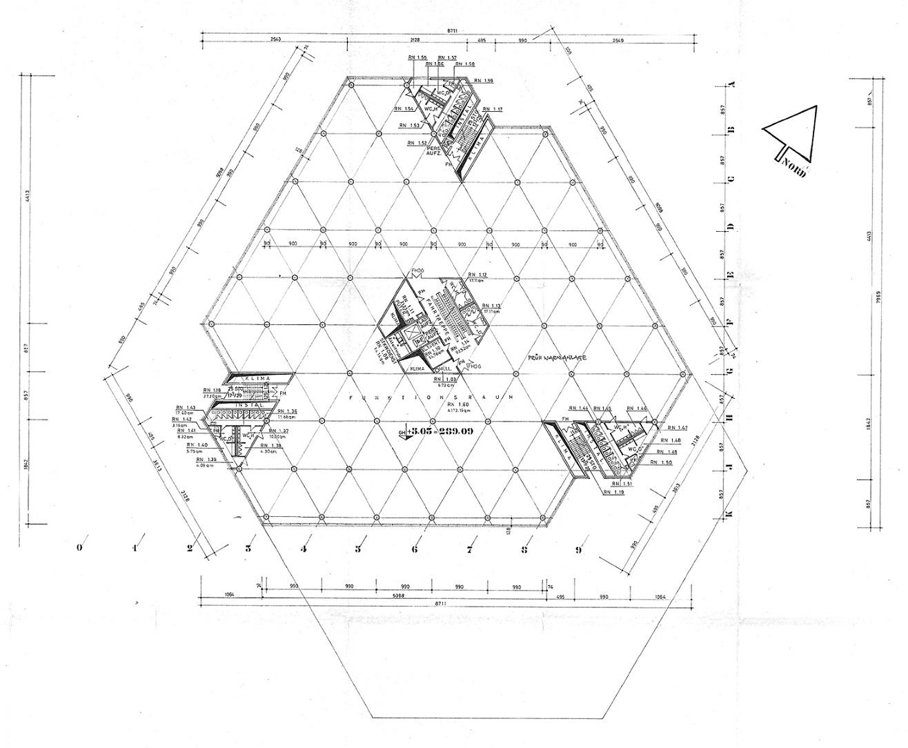 Grundriss des 1. Obergeschosses von 1970 (Ebene 10) (Bild: Deutsche Rentenversicherung Baden-Württemberg)