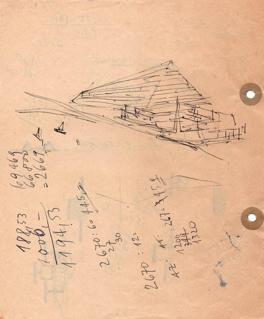 Josef Kaiser, Entwurfsskizze für eine Großwohneinheit in Pyramidenform, 17.6.1966 (Bild: © mit freundlicher Genehmigung des Josef-Kaiser-Archivs Dresden)