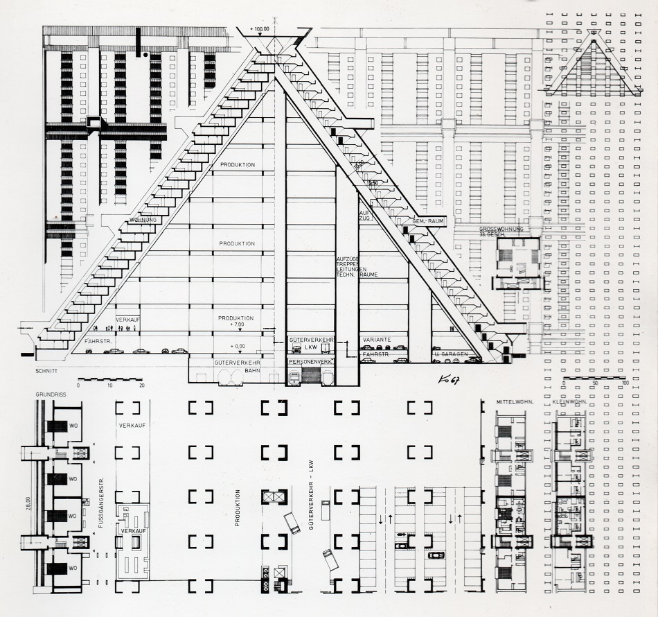 """Josef Kaiser: Ideenskizze """"Sozialistische Stadt"""", Maßstab 1:20.000, 1968 (Bild: © mit freundlicher Genehmigung des Josef-Kaiser-Archivs Dresden)"""