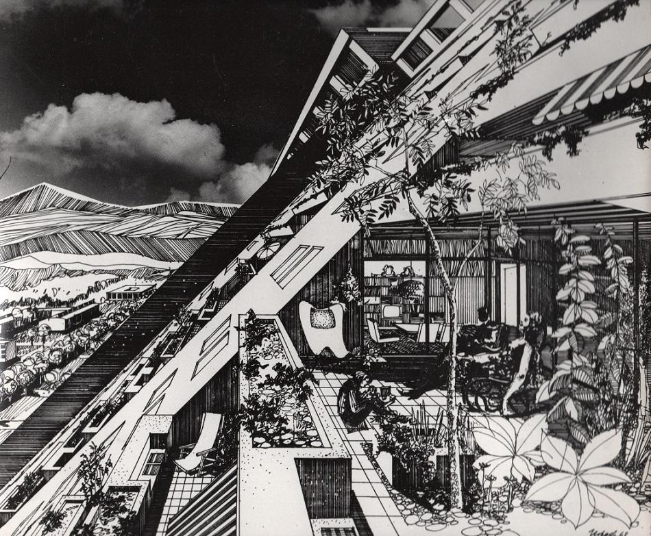 Dieter Urbach, Visualisierung von Josef Kaisers Großhügelhaus, um 1970 (Bild: © mit freundlicher Genehmigung des Josef-Kaiser-Archivs Dresden)