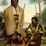 Syrische Bediunenhirten (Foto: Maison Bonfils, um 1890, Photochrom: um 1895, Copyright: G.-Dalman-Institut)