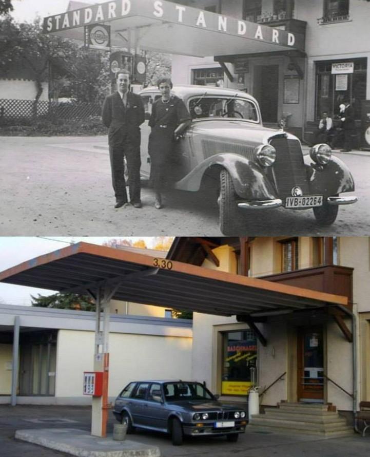 Ühlingen, Tankstelle Baschnagel einst und jetzt (Bild: Pete Mitchell)