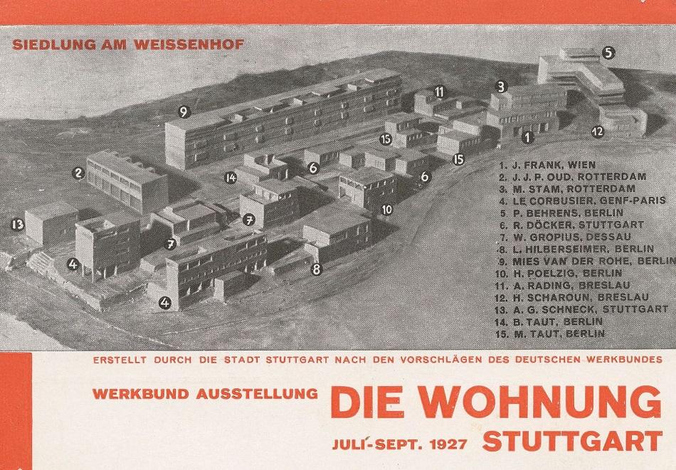 """Willi Baumeister: Einladungskarte zur Ausstellung """"Die Wohnung"""" in der Stuttgarter Weißenhofsiedlung, 1927 (Bild: Druck auf Papier, 10,3 x 14,8 cm)"""