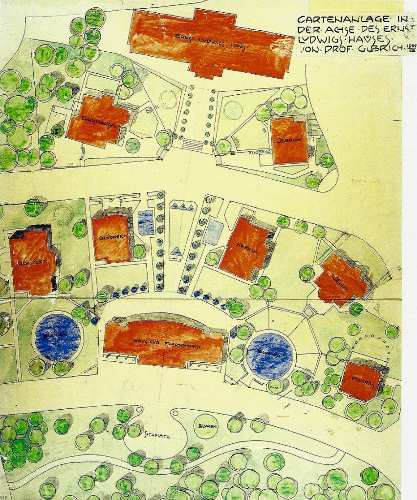 Joseph Maria Olbrich: Lageplan mit Freiflächengestaltung in der Achse des Ernst-Ludwig-Hauses, Dezember 1900 (Bild: o. A., Staatliche Museen zu Berlin – Kunstbibliothek)