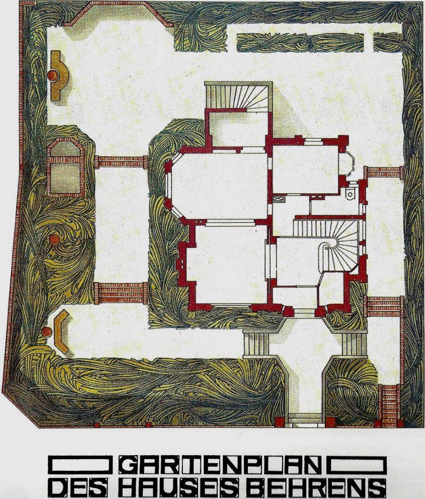 Peter Behrens: Gartenplan für Künstlerhaus von Behrens, um 1900 (Bildquelle: Koch, Alexander (Hg.), Grossherzog Ernst Ludwig und die Darmstädter Künstler Kolonie, Darmstadt 1901, S. 356, © Universitätsbibliothek Heidelberg)