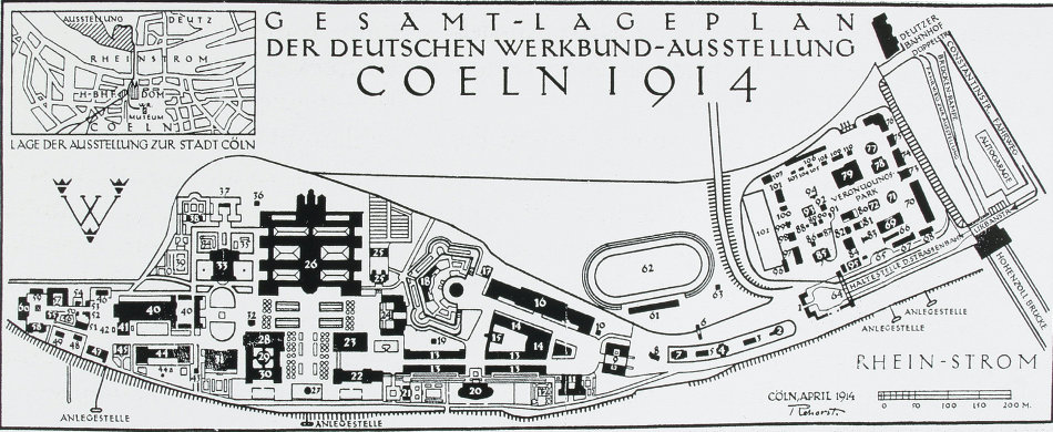 Carl Rehorst: Gesamtplan für die Werkbundausstellung in Köln, 1914 (Bild: o. A., aus: Deutsche Form im Kriegsjahr. Die Ausstellung Köln 1914, München 1915, S. 170-171)
