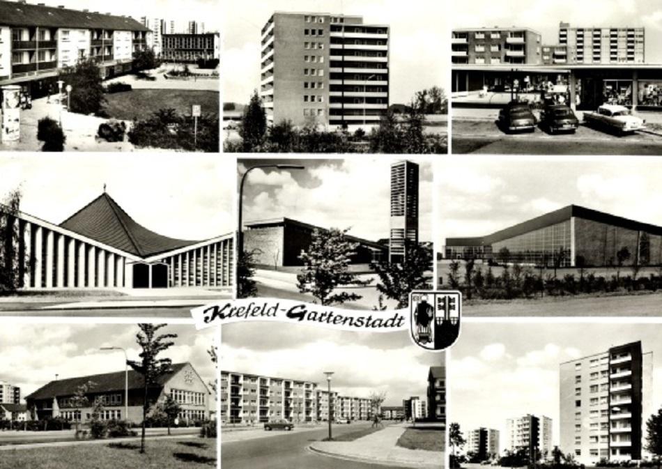 Bild: historische Postkarte: Mitte links: St. Pius X., Mitte Mitte: Lukaskirche