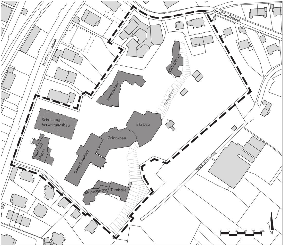 Stuttgart, Freie Waldorfschule Uhlandshöhe, Lageplan (Planzeichnung: Verena Stein, 2019)