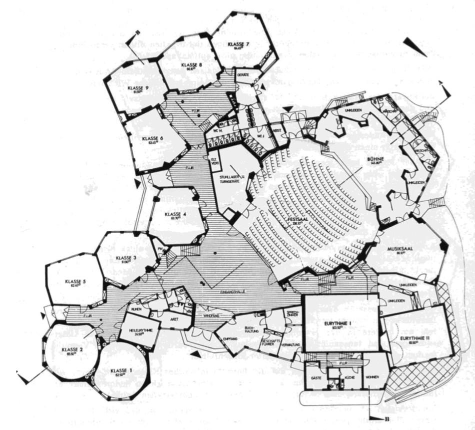"""Bremen, Freie Waldorfschule Bremen Touler Straße, 1972–74 (Werner Seyfert), Grundriss (Bildquelle: Festschrift """"Zur Einweihung des neuen Schulgebäudes"""" Februar 1975, © Freie Waldorfschule Bremen Touler Straße)"""