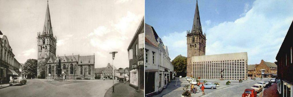 Ahaus, St. Mariä Himmelfahrt (Bilder: historische Postkarten, links: vor dem Umbau, Foto: Buchhandlung Franz Kleiboldt, Aahaus; rechts: nach dem Umbau: Krapohl-Verlag, Schloss Hülchrath)