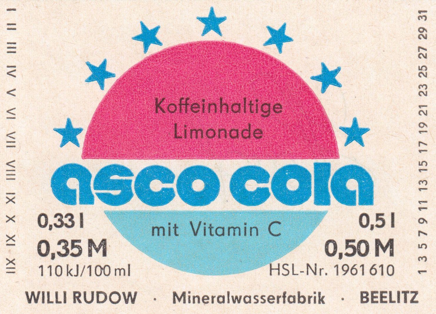 Asco Cola, Willi Rudow Mineralwasserfabrik Beelitz (Bild: historisches Etikett)