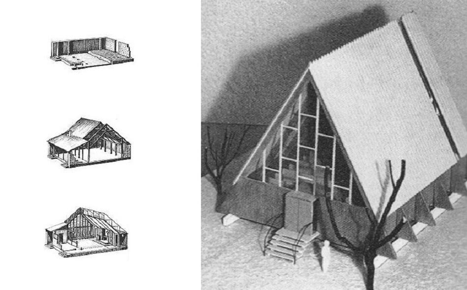 links: Bauschema der Bartning-Notkirche Typ D; links: Typenmodell A (Bilder: links:
