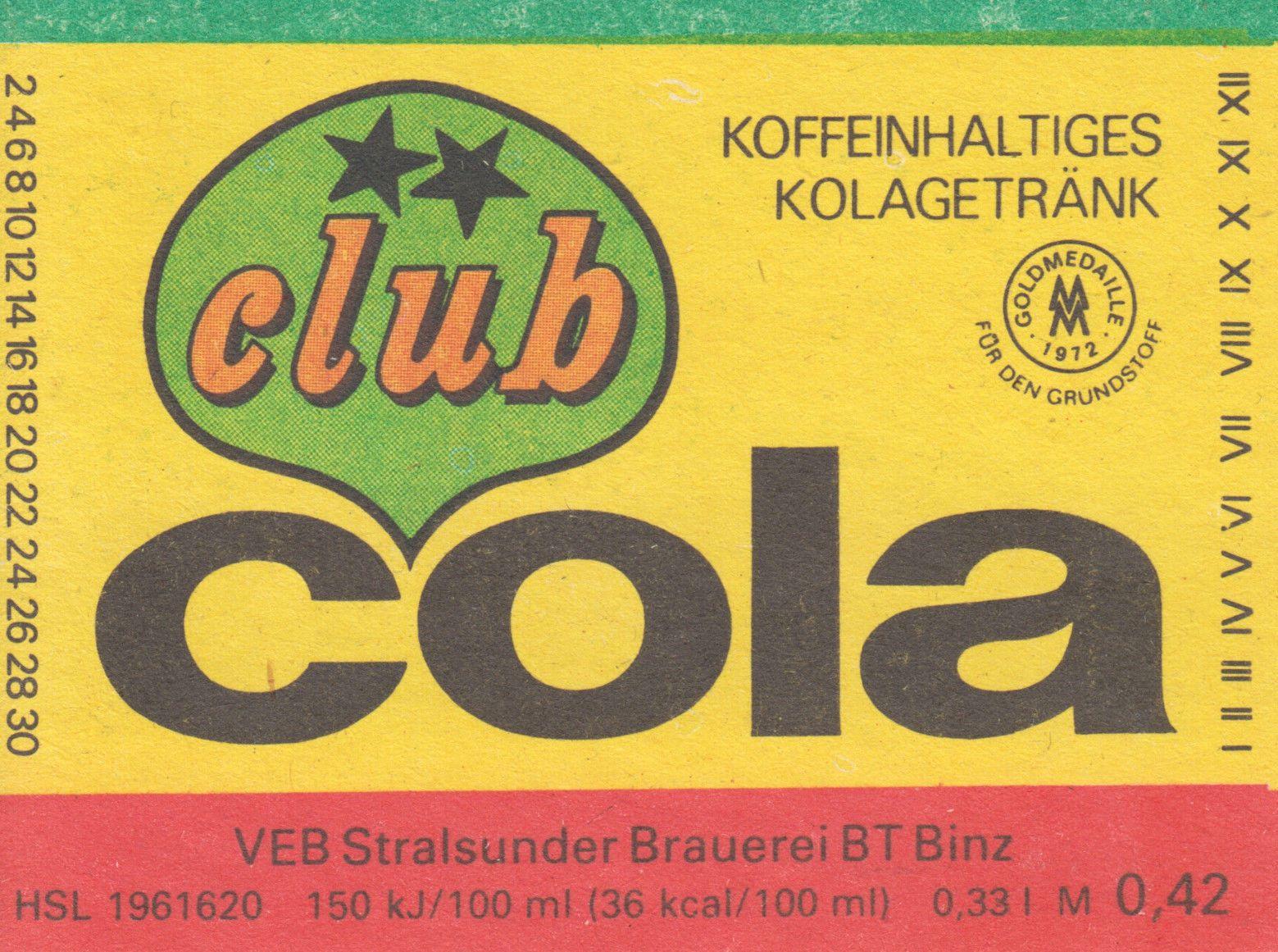 Club Cola, VEB Stralsunder Brauerei BT Binz (Bild: historisches Etikett)