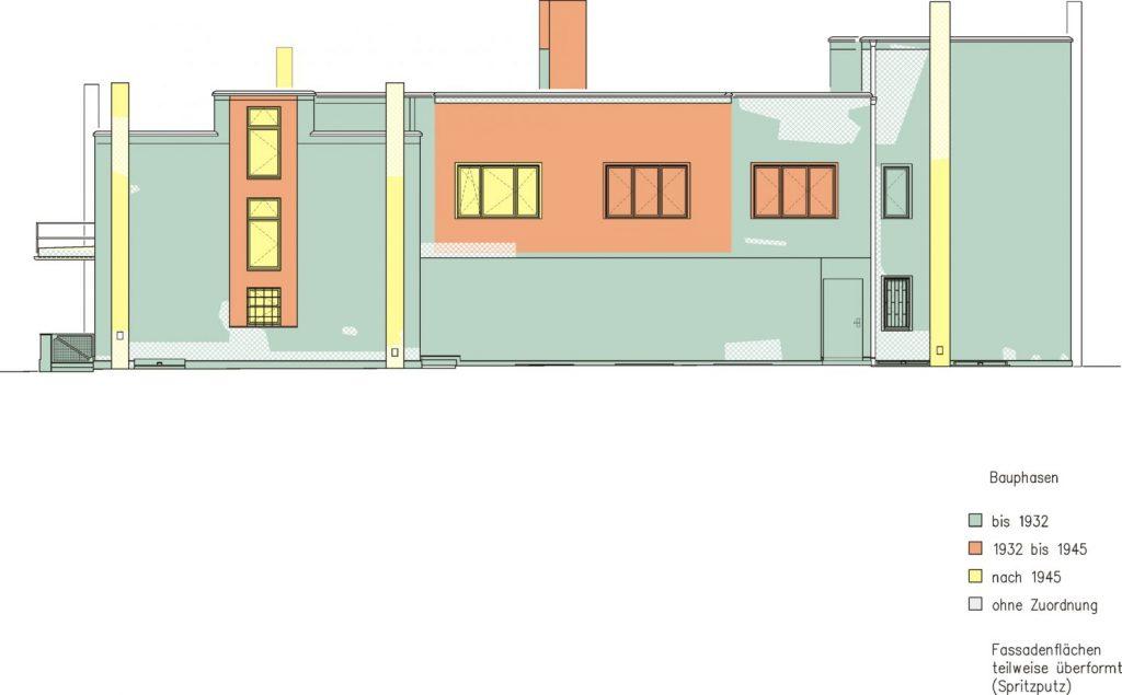 Dessau, Meisterhaus Muche/Schlemmer, Nordansicht, Bauphasenplan (Bild: Brenne Architekten)