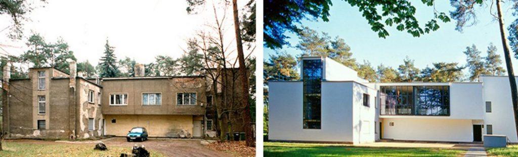 Dessau, Meisterhaus Muche/Schlemmer vor und nach der Sanierung von 2001 (Bild: Brenne Architekten)