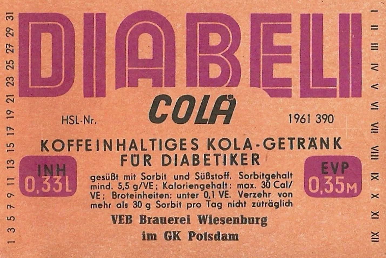 Diabeli Cola, VEB Brauerei Wiesenburg (Bild: historisches Etikett)