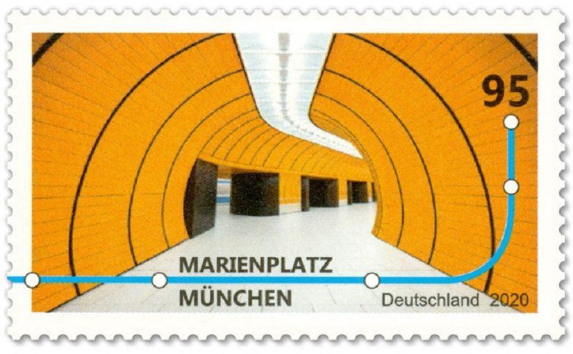 Briefmarke, U-Bahnstation Münchener Marienplatz (Bild: deutschepost.de, © Chris M Forsyth)