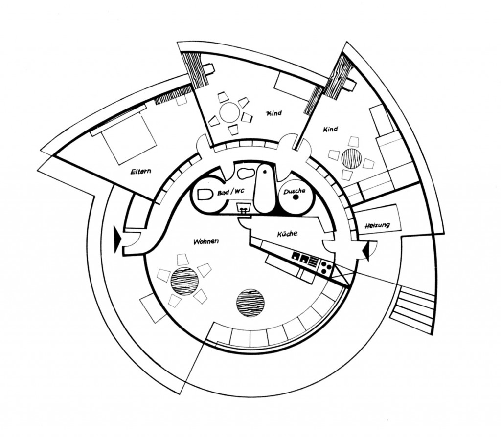 Grundriss des französischen Schneckenhauses, 1956 auf der Ausstellung Arts Ménagers Paris, Frankreich (Zeichnung: Bauen + Wohnen 7, 1959, S. 236)