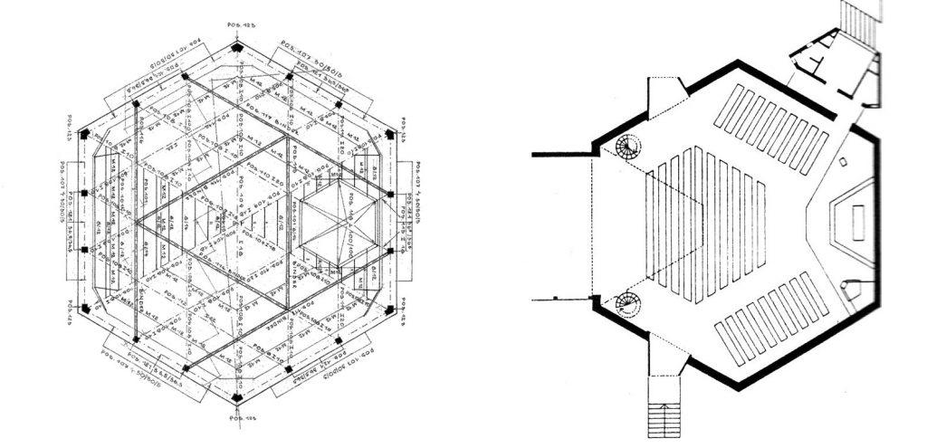 Hamburg-Othmarschen, Ansgarkirche, Schema des Dachtragwerks und Grundriss (Bildquellen: Tabita-Kirchengemeinde/Soeffner 1998)