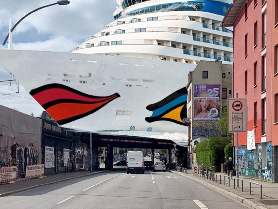 Hamburg, Sternbrücke, scherzhafte Simaltion eines Brückenneubaus (Bildmontage: Thomas Schaaf, 2020)