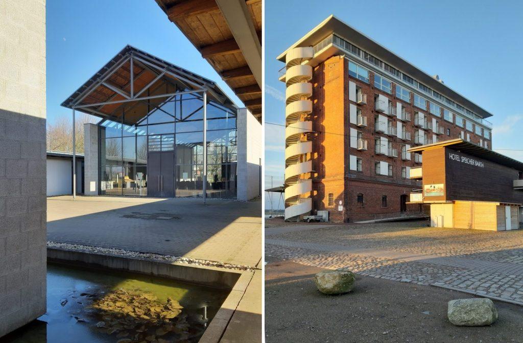links: Hochheim, Trauerhalle, Schlamp + Schmelz, 1997; rechts: Barth, Hotel Speicher, Umbau um 1998, Volker Giencke (Bilder: K. Berkemann, 2021)