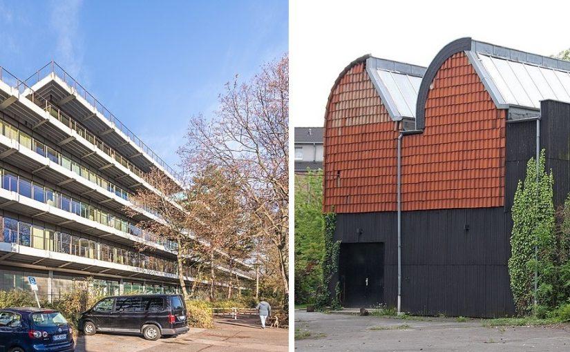Köln, links: Köln, Siemensgebäude in der Franz-Geuer-Straße; rechts: Simultanhalle (Bilder: links: © Raimond Spekking, CC BY SA 4.0, via widimedia commons, 2020; rechts: Elke Wetzig, GFDL oder CC BY SA 3.0, 2010)