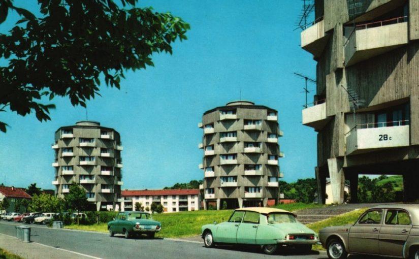 Lahr, Rundhochhäuser (Bild: historische Postkarte)