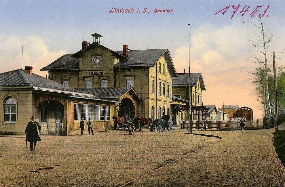 Limbach/Sachsen, Bahnhof (Bild: Kunstverlag Brück & Sohn, Meißen, CC0 1.0, 1914)