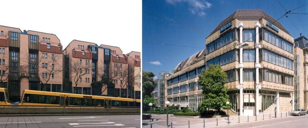 Stuttgart, links: Charlottenstraße, rechts: Allianz-Zweigniederlassung Ecke Uhlandstraße/Olgastraße (Bilder: links: C. Holl, rechts: allianz-vertrieb.de)
