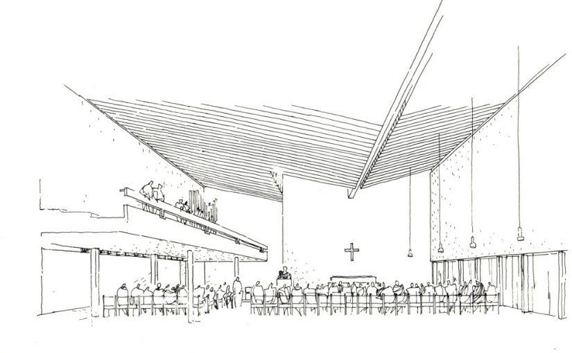 Offenbach, Neue Schlosskirche (Bild: Zeichnung der Bauzeit, G. Bruhns mit Hans Georg Heimel))
