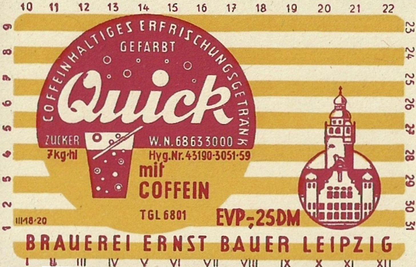 Quick Cola, Brauerei Ernst Bauer Leipzig (Bild: historisches Etikett)
