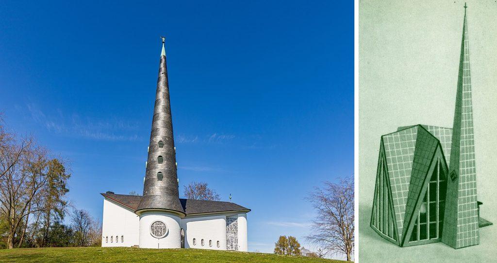 links: Schulensee bei Kiel, Thomaskirche (Bild: Matthias Süßen, CC BY SA 4.0, 2020); rechts: Hamburg-Rahlstedt, Trinitatiskirche als Pappmodell (Bild: Faller-Magazin 54, 1966)