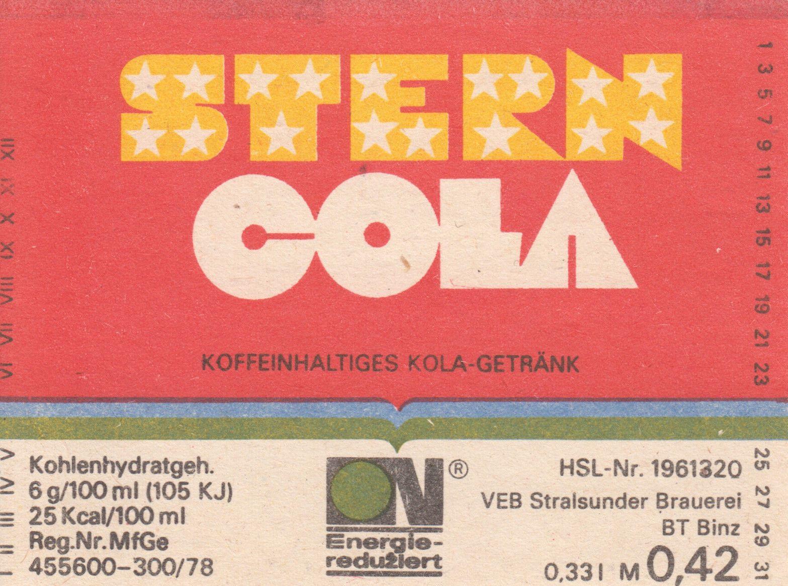 Stern Cola, VEB Stralsunder Brauerei BT Binz (Bild: historisches Etikett)