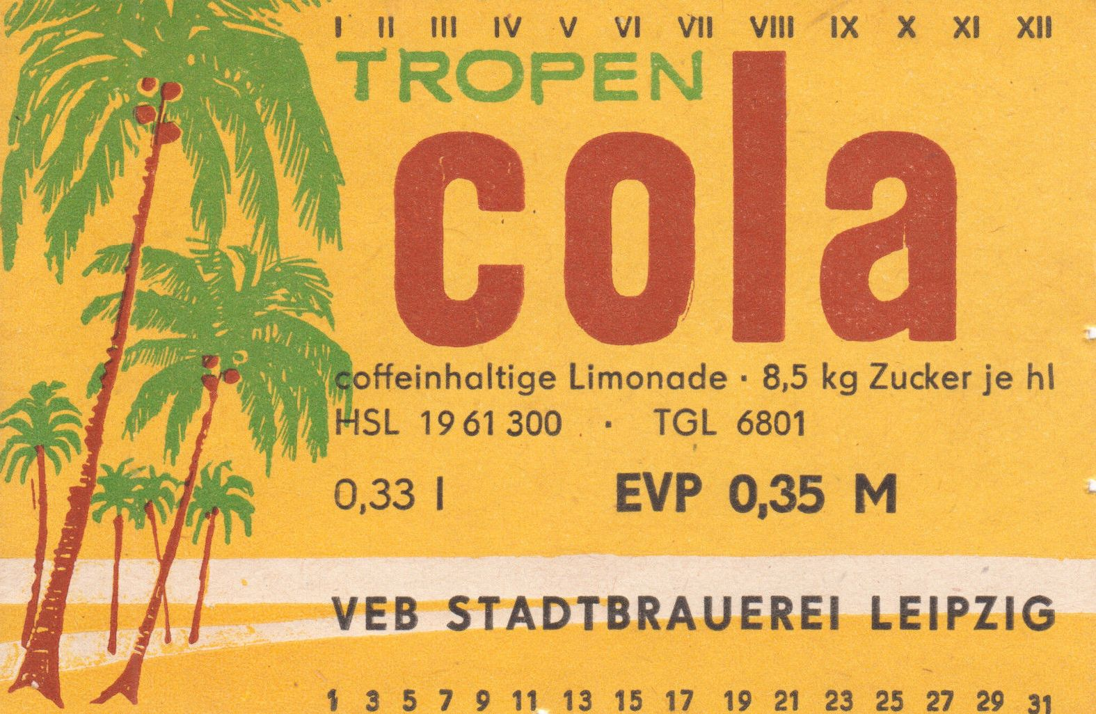 Tropen Cola, VEB Stadtbrauerei Leipzig (Bild: historisches Etikett)