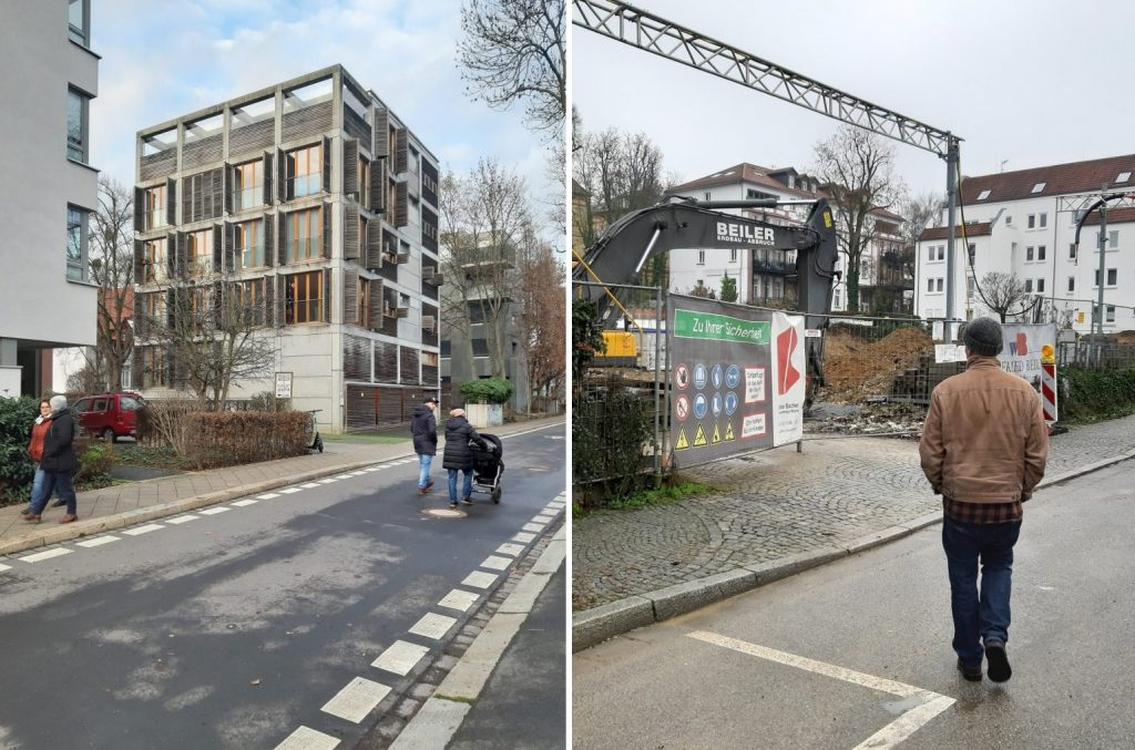 links: Kassel, Stadtvilla Sternstraße; rechts: Wiesbaden, Abrissgelände der Filiale der Landeszentralbank in der Mainzer Straße (Bilder: K. Berkmeann, 2020)